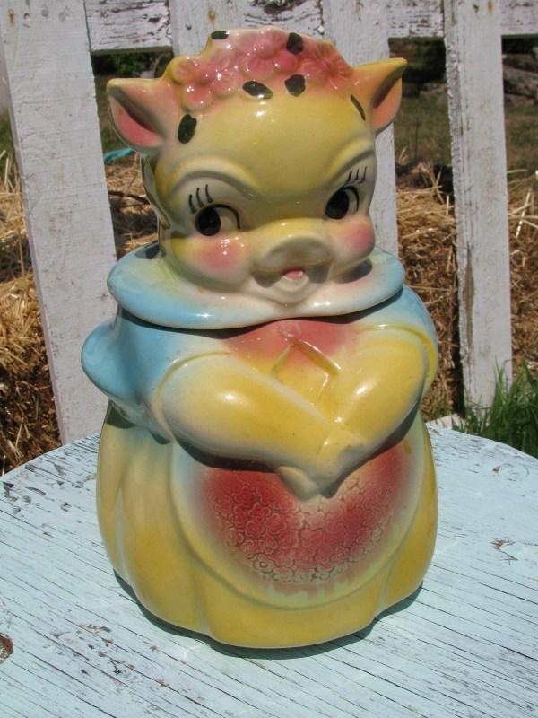 Rare Vintage American Bisque Lady Sweet Pea Pig Cookie Jar