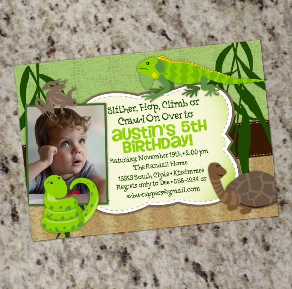 Printable Reptile Birthday Party Invitation