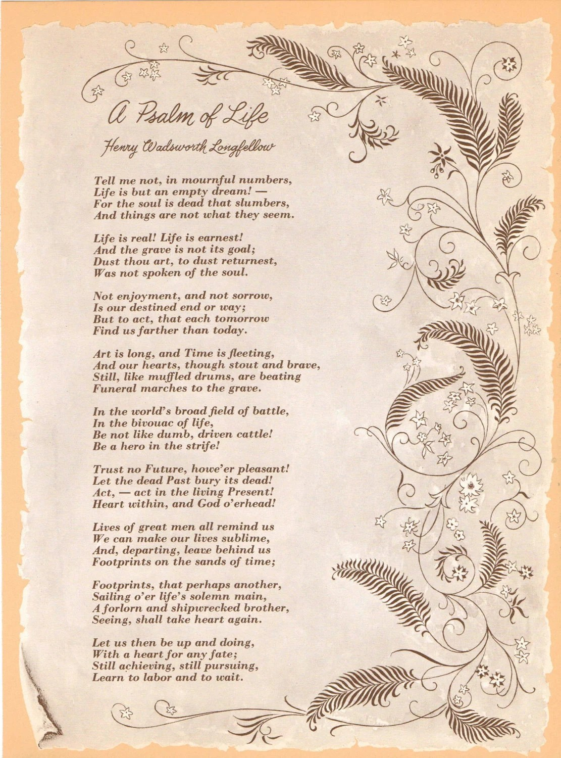 Vintage Art Print A Psalm Of Life In Brown Cream Sepia