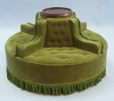 Vintage Green Upholstered Round Sofa by by HartsDesireMinis