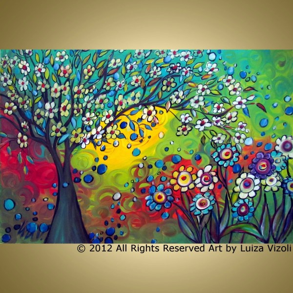 Original Modern Abstract Fantasy Whimsical Tree Flowers