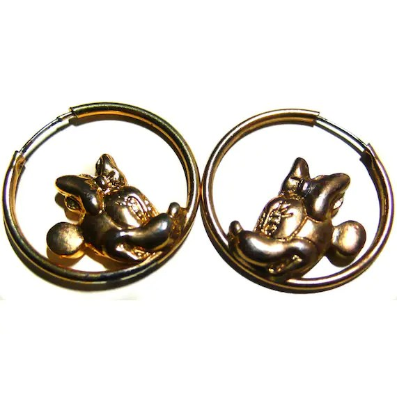 Items similar to Minnie Mouse gold hoop earrings on Etsy