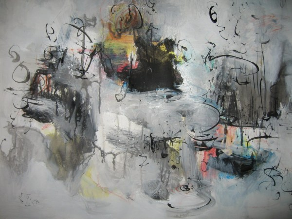 Grey Abstract Painting Black And White Gray Blue Art Sjkim