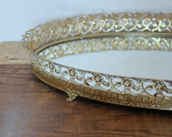 Vintage Aged Gold Mirrored Vanity Tray