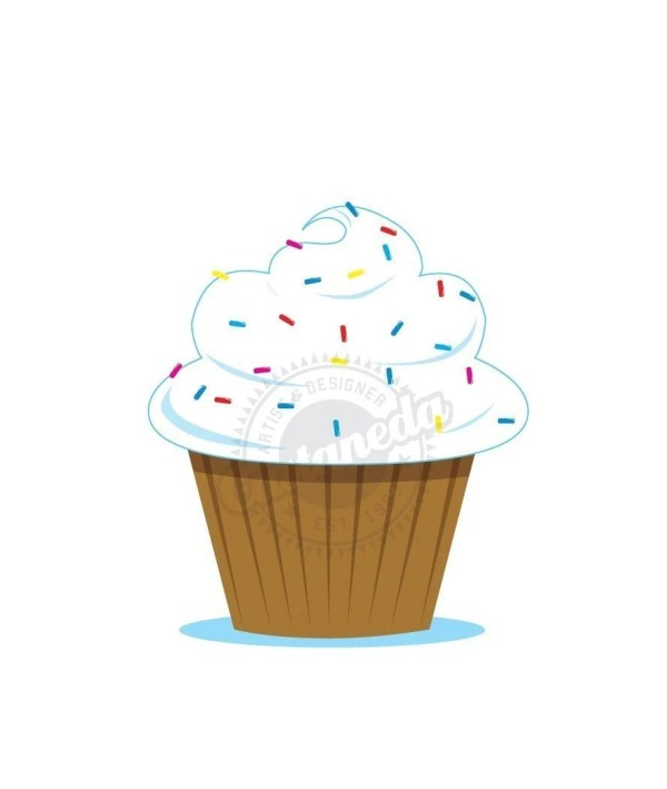 vanilla cupcake with sprinkles-clipart