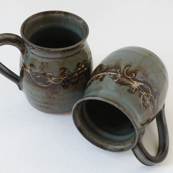 ONE Handmade 16 oz Stoneware Coffee Mug decorative gray blue