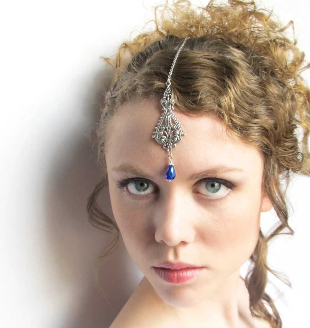 Silver And Blue Tikki Forehead Jewelry