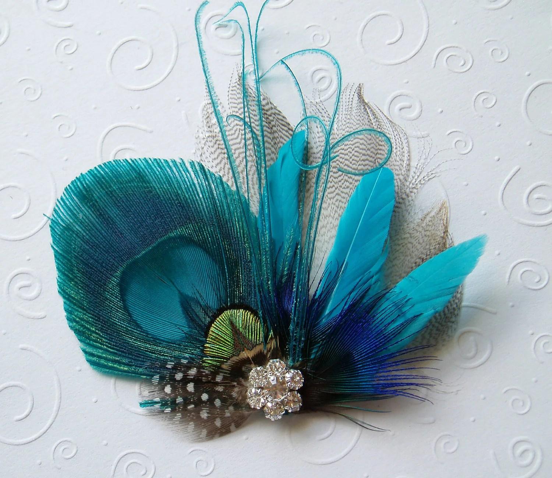 Bright Peacock Feather Hair Clip Bridal Fascinator Peacock