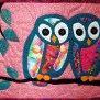 Owl Art Quilt Batik Wall Hanging Wall Decor Aqua Pink