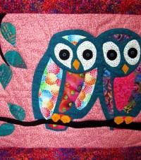 Owl Art Quilt Batik Wall Hanging Wall Decor Aqua Pink