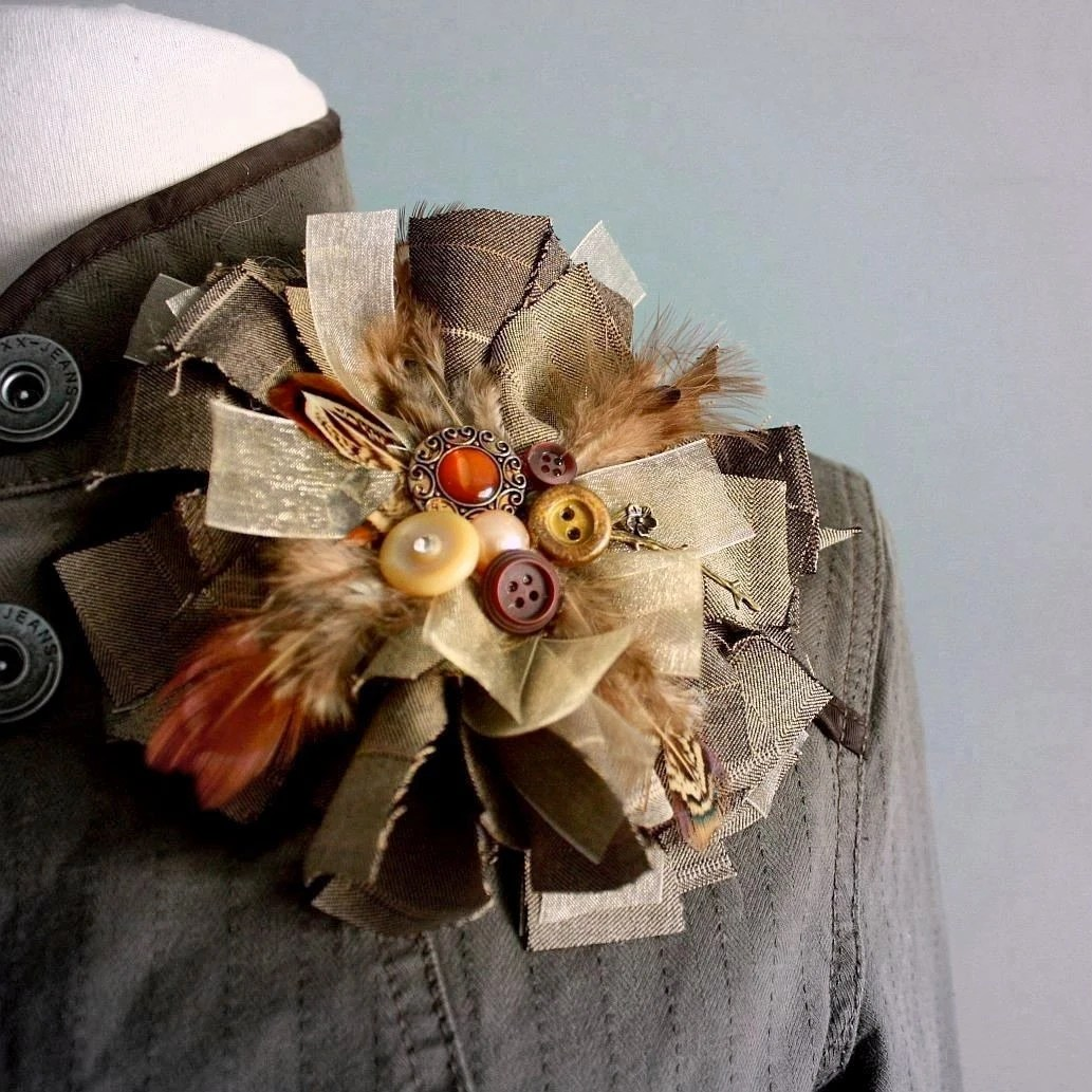 Large Fabric Brooch Upcycled Lapel Pin by BrokenGhostClothing