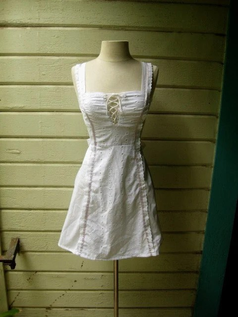 70s white mini sundress corset top satin ribbon