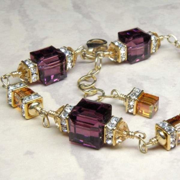 Purple Amethyst Crystal Bracelet Gold Filled Plum Swarovski