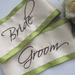 Wedding Chair Covers For Bride And Groom Bamboo Accent Sash Set By Floratouch On Etsy