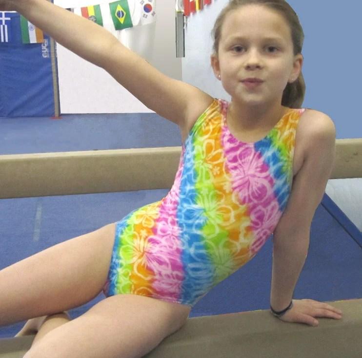 Shiny Pink Gymnastics Leotard Girl