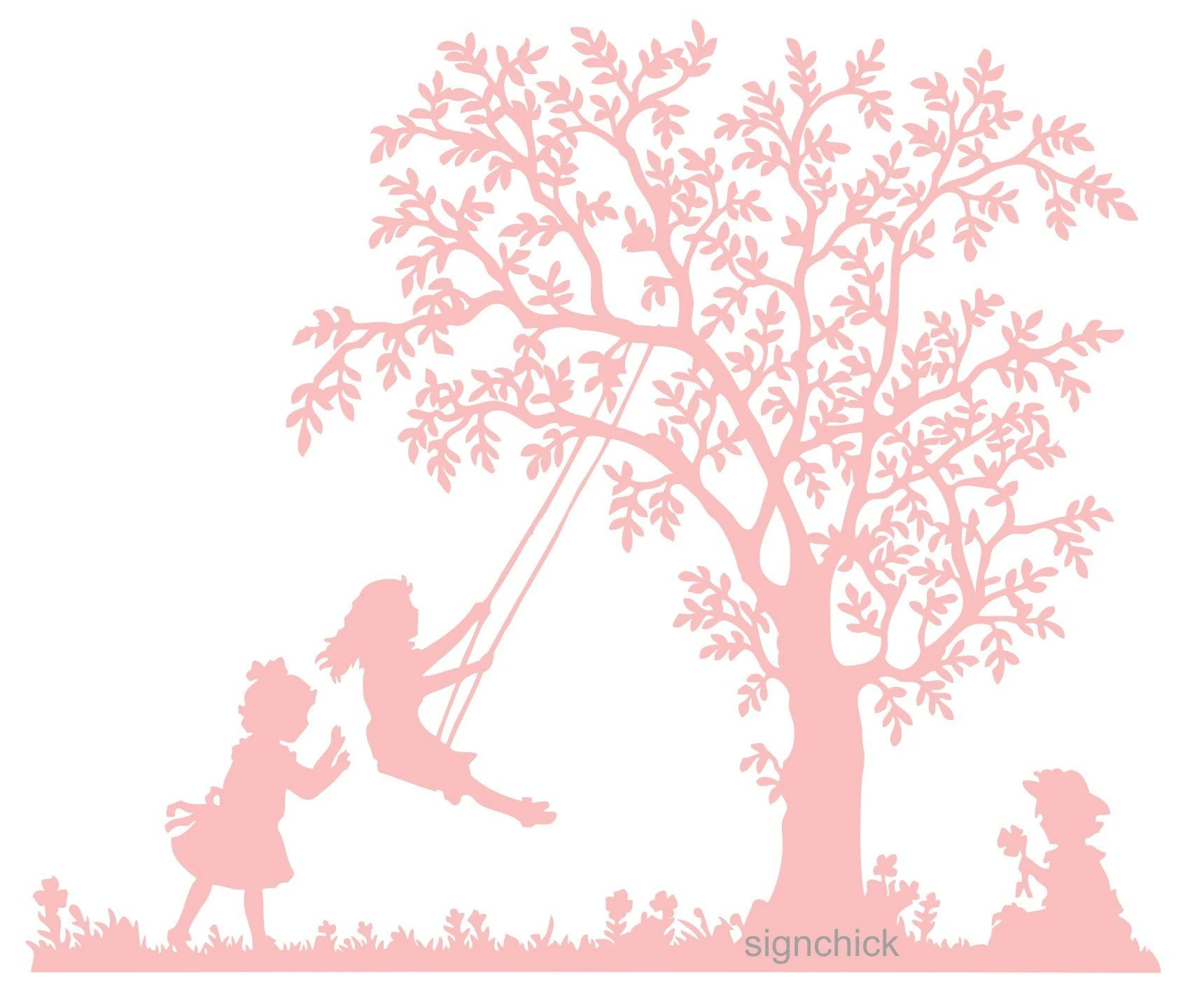 Tree Swing with little girls Vinyl Wall Decal Old fashioned