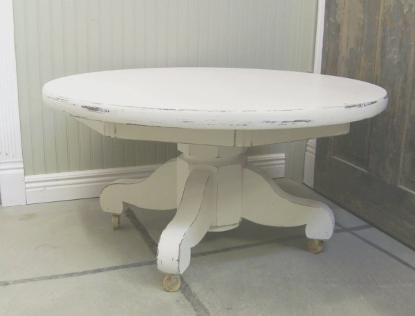 Vintage Distressed White Pedestal Coffee Table