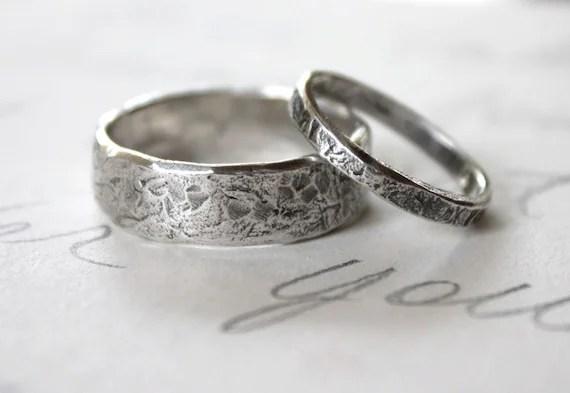Rustic Wedding Band Ring Set Custom Recycled Silver Wedding