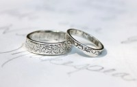 recycled silver vine leaf wedding band ring set by ...