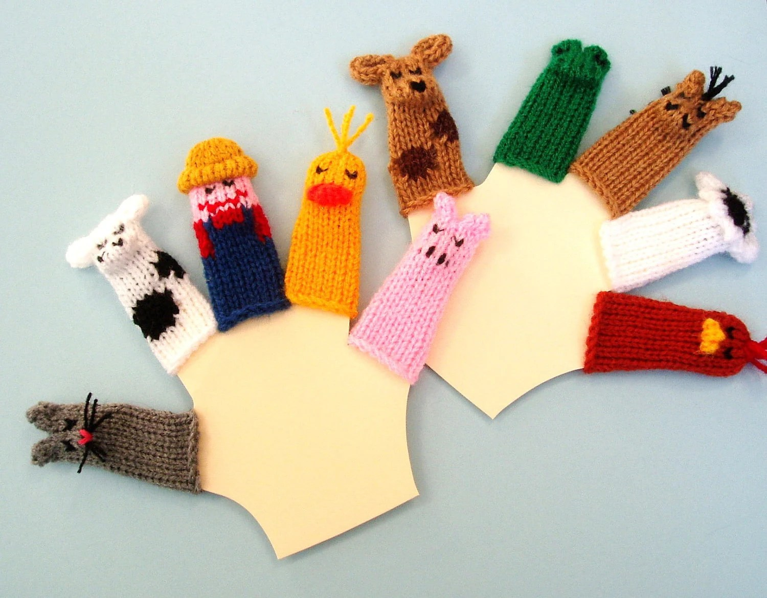 Deluxe Old McDonald Finger Puppet Set (Includes Old McDonald, Cat, Cow, Duck, Pig, Dog, Frog, Horse, Sheep. and Rooster.)