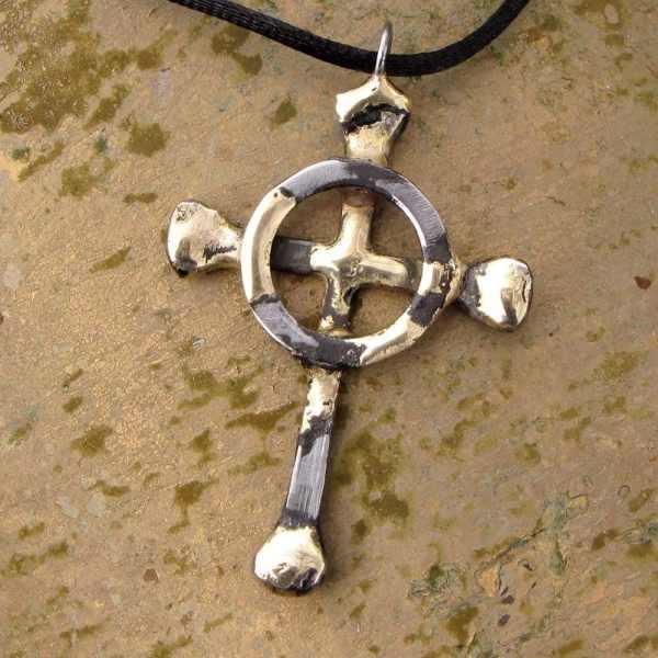 Celtic Cross With Horseshoe Nails Pendant Necklace