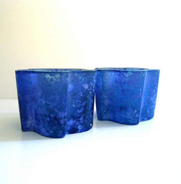 Vintage Handmade Blue Frosted Glass Candle Holders Spain