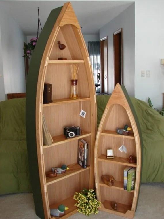 6 Foot Handcrafted Wood Row Boat Shelf Bookshelf Bookcase