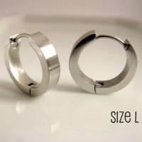 Silver hoop earrings for men nebula steel hoop earrings