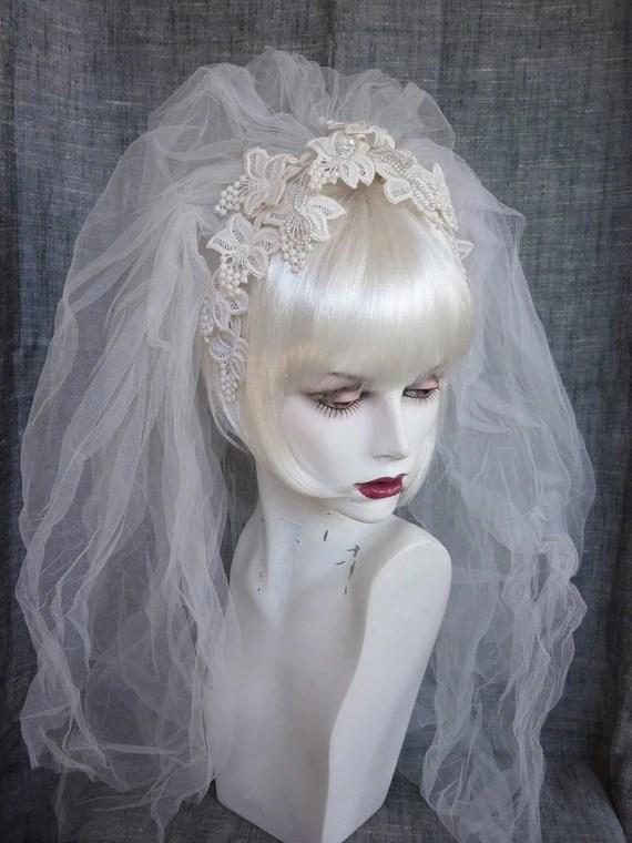 Vintage Bridal Veil Lace Flower Headband 70s 80s