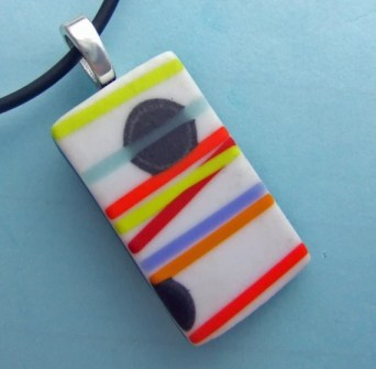 White Pick Up Stix  Pendant, Handmade Fused Glass Jewelry