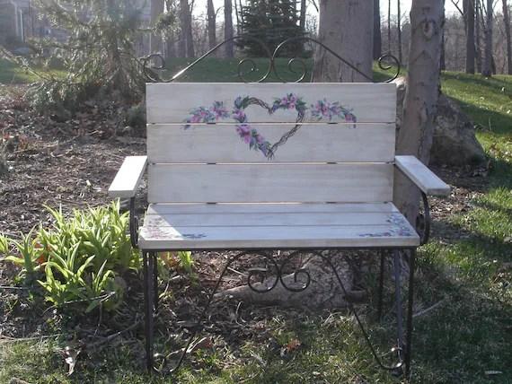Small Wooden Metal Garden Bench Outdoor Seat Benches