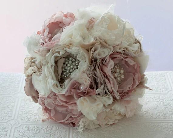 Ready To Ship Fabric Flower Wedding Bouquet With Rhinestone