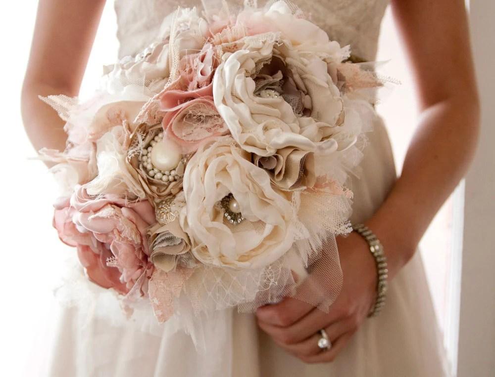 Fabric Flower Custom Wedding Bouquet With Rhinestone And