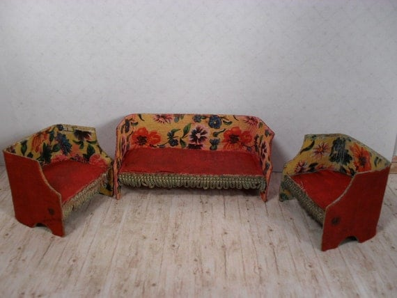 Vintage Cardboard Dollhouse Furniture Couch and Two by