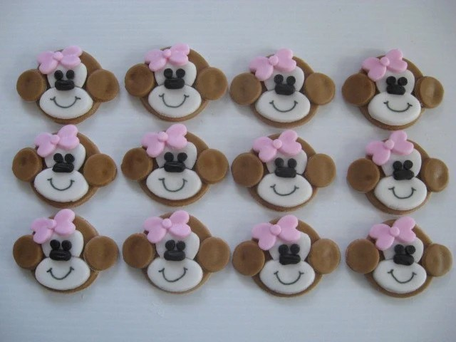 Girl Monkey Cupcake Toppers With Pink Bows By ChristmasClay