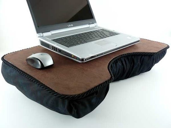 Brown Faux Leather Lap Desk with black padded by LapDeskLady