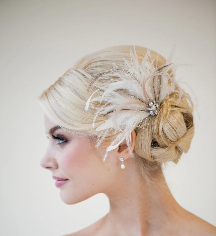 Bridal Feather Fascinator Wedding Feather Headpiece Bridal
