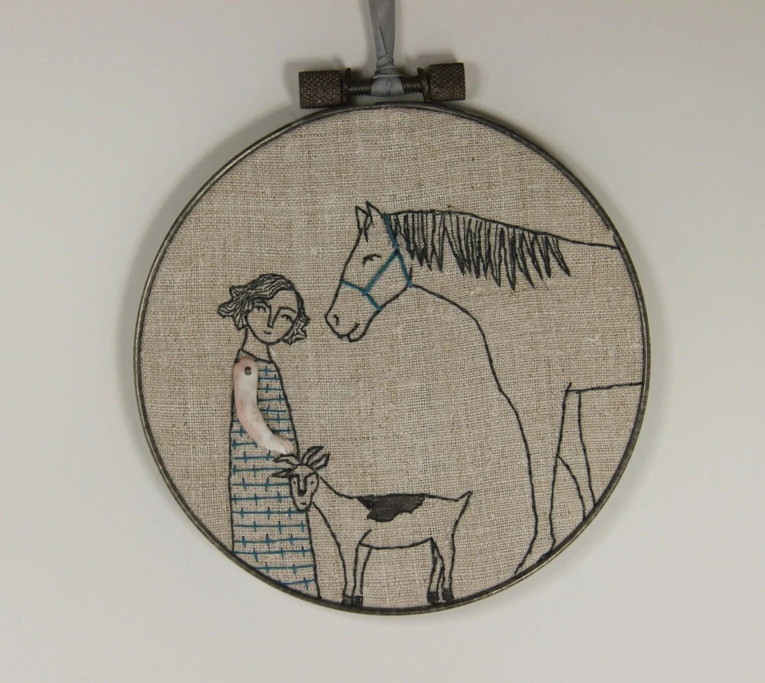 hand embroidery-girl with her horse and goat