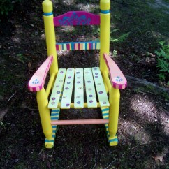 Kids Wooden Rocking Chair Baby Shower Decoration Ideas Childrens Hand Painted Yellow And Pink Striped