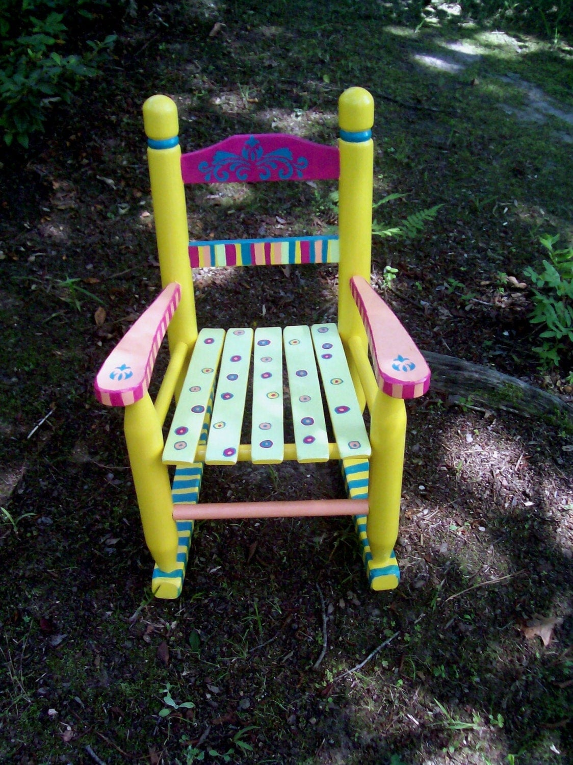 Childrens Rocking Chair Childrens Rocking Chair Hand Painted Yellow And Pink Striped