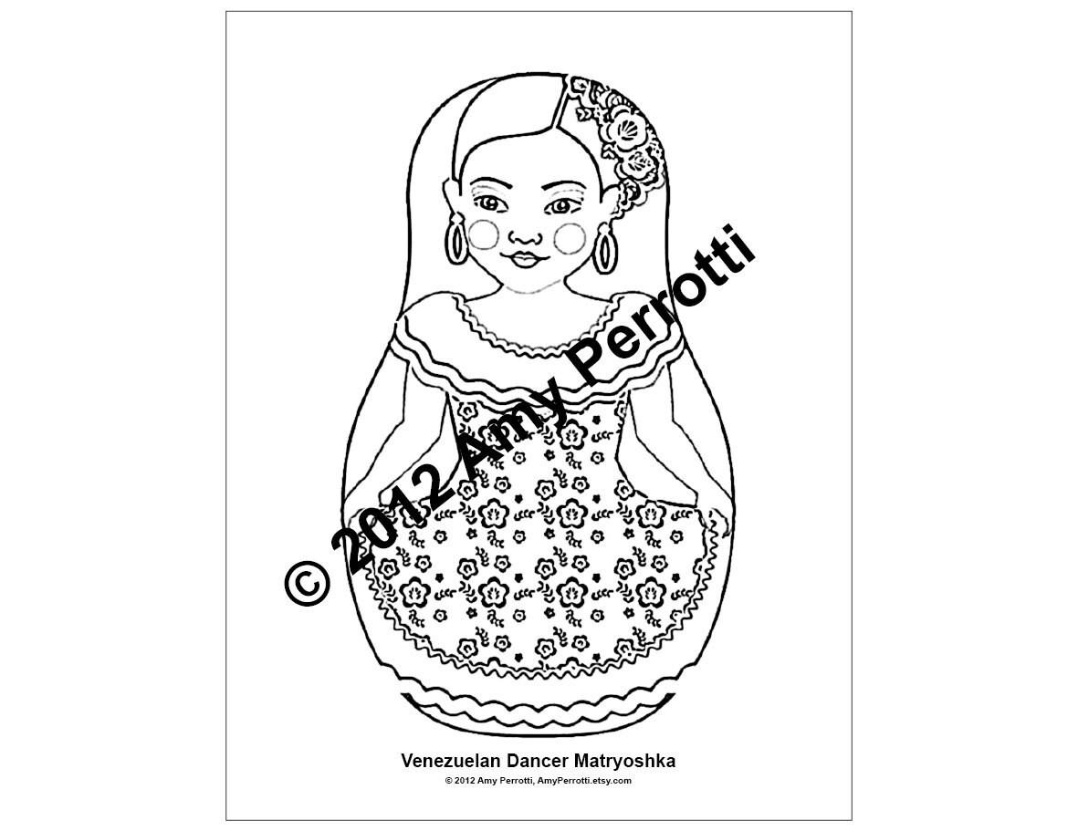 Venezuelan Dancer Matryoshka Coloring Sheet Printable File