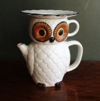 Vintage Ceramic Owl Teapot Cup and Saucer Set