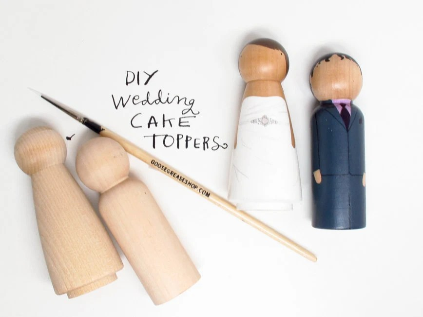 with Priority Shipping - Wedding Cake Toppers with Extra Couple- DIY - Request Colors at Checkout - Wooden Dolls
