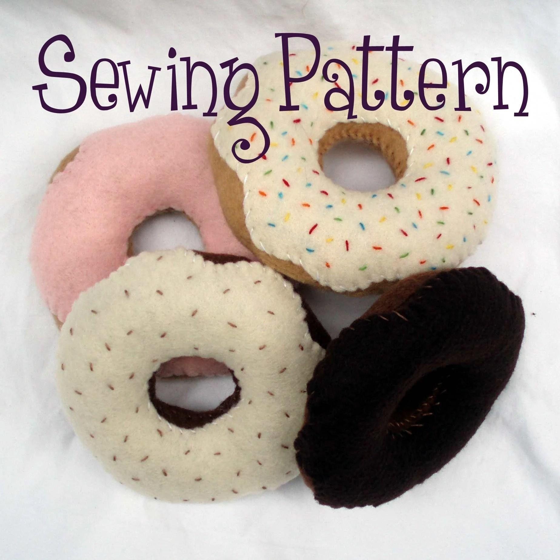 Felt donut PDF pattern by purplelizarddesign on Etsy