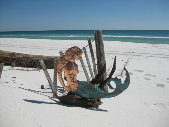 Mermaid on driftwood - oldsaltscopperdesign