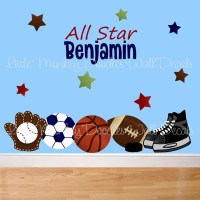Fabric WALL DECALS All Star Sports PERSONALIZED with Name