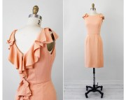 Vintage 50s 60s Dress Peach Cocktail With Dramatic