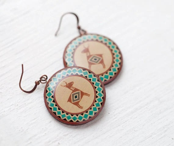 Tribal earrings - Indian deer - Ethnic jewelry  (E098)