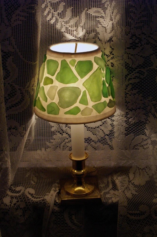 Items similar to Shades of Green Sea Glass Accent Lamp