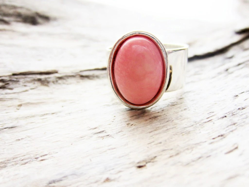 Peach coral ring,  Angelskin coral pink light orange 10x14, in silver. - LittleBearsMom
